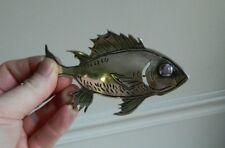 Gigantic Signed Sterling Silver Fish Brooch Pin w/ Amethyst Stone Eye Mount