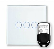 RetroTouch 00362 3 Gang White Glass Remote Control Touch Light Switch with Fob