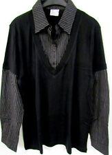 NUOVO donna bluse maglia nero bianco manica lunga righe scollo a V BOTTONI Tgl