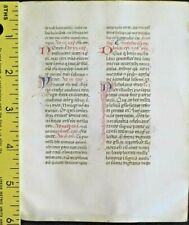 Deco.vellum manuscript lf,Breviary,8handptd.initials w/line drawings,c.1460.#1G