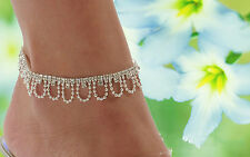 Rhinestone Crystal Charm Drop Tassel Ankle Chain Bracelet Anklet Wedding Jewelry