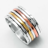 Solid 925 Sterling Silver Spinner Thumb Meditation Statement Ring Size ss5424