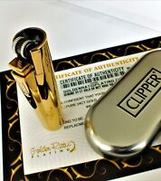 24Ct Gold Plated Metal Clipper Cigar Lighter Refillable Gas Flint Gift Boxed 24K