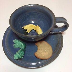 Vintage Handmade & Painted Ceramic Teacup Saucer With Fish Sculpture Sue Mattox