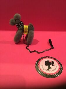 Cute! Vintage Steiff Poodle Dog+Leash+Collar for Ponytail Barbie, Lilli or Clone