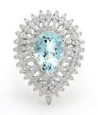 4.11 Carat Natural Blue Aquamarine and Diamonds in 14K Solid White Gold Ring