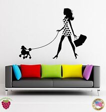Wall Stickers Vinyl Decal Fashion Girl With Poodle And Shopping Bags (z1779)