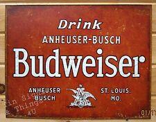 Drink Anheuser-Busch Budweiser Tin Sign metal wall decor vtg beer bar ad 1864
