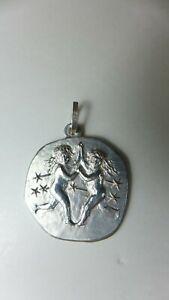 Silber 925 Sternzeichen Zwilling Anhänger, Platte Massiv ,  Silver 925