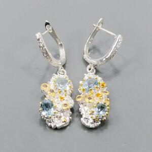 One of a kind Blue Topaz Earrings Silver 925 Sterling   /E57576