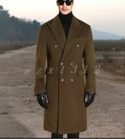 Classic Mens Winter Double-breasted Wool Blend Trench Coat Long Jacket Outwear