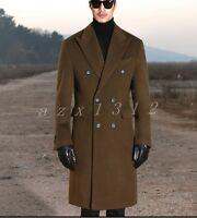 Mens Winter Lapel Double-breasted Long Woollen Trench Coat Jacket Outwear Parka