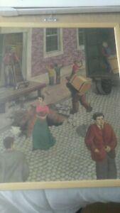 Philadelphia street scene 1930s folk art oil painting  (zip code for shipping $)