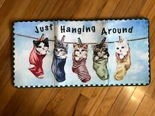 Novelty Cats In Socks Floor Runner Clothesline Kitten Laundry Cushioned Rug
