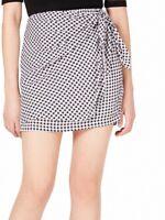 Maison Jules Women's Skirt Deep Black Size XL Faux Wrap Checkered Mini $49 #618