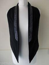 Women's Black Silver Stud Open Waistcoat Vest by Atmosphere  Size 8