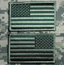 US USA AMERICAN FLAG REVERSE LEFT RIGHT ARMY SHOULDER OD GREEN HOOK 2 PATCHES