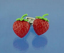 Red & Green Strawberry Deluxe Cufflinks With Gift Pouch Soft Fruit Berry New