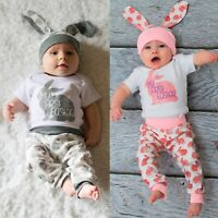 Infant Baby Boys Girls Easter Rabbit Printed Romper Bodysuit+Pants+Hats Outfits