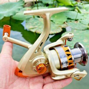 Spinning Fishing Reel Roller Coil Wheel 5.2:1 Metal Spool Gold Left Right Stream