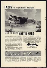 1944 WWII MARTIN MARS AIRCRAFT AD Landing Pacific WW II WW2 Aviation Plane