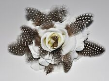 """6"""" Creamy White Rose with Black Feathers Silk Flower Hair Clip Pin-Up"""