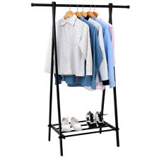 1 Tier Black Portable Closet Clothes Garment Storage Rack Metal Heavy Duty