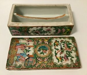 Antique Chinese Export  Famille Rose Brush Box