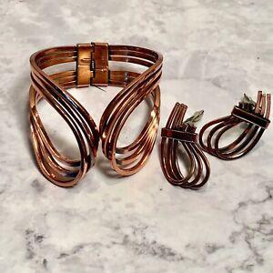 Vintage Renoir Copper Clamp Cuff Bracelet & Clip Earring Set