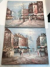 Howard Gailey Oil on Canvas Signed Paintings of People in a Town (set of 2)