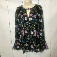 Democracy Womens Blouse Size Extral Large Black Pink Floral Long Bell Sleeves
