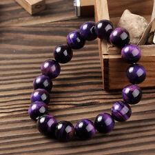 8mm purple Natural African Roar Natural Tiger's Eye Round bracelet 7.5 ''