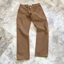 Topman Mens Mustard Slim Chinos Trousers W 34 L31 Brown Tan Button Fly