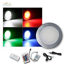 3er Komplett-Set Einbauleuchte EBL Slim rund IP67 RGB Alu, Einbaustrahler Spots