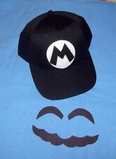 Handmade Super MARIO Smash Bros Alternate Costume Hat & Face Pcs Black on Blac