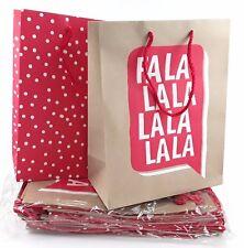 24 Medium Christmas Gift Bags Kraft Brown Fala Lala, Red with White Polka Dots