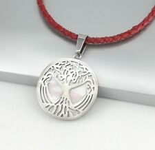 Silver Tree Of Life Pearl Stainless Steel Pendant Braided Red Leather Necklace
