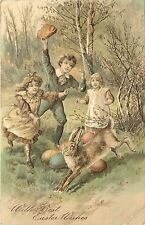 c1907 PFB Easter Postcard Ser.5112 Children in Forest Try to Catch Big Rabbit
