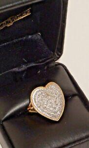 Gorgeous 14K Yellow Gold .50 TW Diamond Pave Heart Ring ~Size 7.5