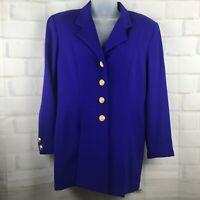 Neiman Marcus Womens 100% Wool Blazer Suit Jacket 8 Blue Vintage Career Business