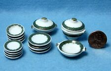 Dollhouse Miniature Dinner Plate Set with Servers 17 pcs ~ Green & Gold MT703