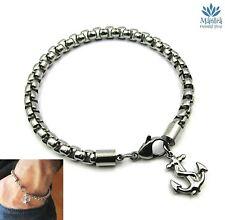 Bracciale uomo catena in acciaio inox con ancora braccialetto argento da nautico