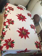 "Holiday Christmas Poinsettia  Tablecloth 60"" X 90"""