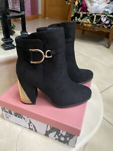 Moda in pelle black Kiara Alcantara boots size 5 BNIB