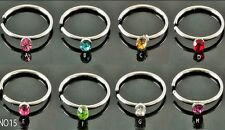 8 COLOURS SET  2mm CRYSTAL  NOSE EYEBROW HOOP LIP EAR SURGICAL STEEL RINGS STUDS