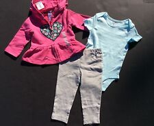 New! Carters Baby Girls Size 6M Bodysuit Set 3-Piece Outfit ALL SEASONS
