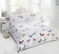 BRIGHT BUTTERFLIES LEAVES WHITE COTTON BLEND KING SIZE DUVET COVER