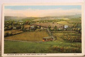 Pennsylvania PA Delaware Water Gap Trolley Line Postcard Old Vintage Card View