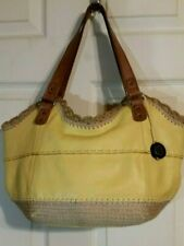 The Sak Pebbled Leather Soft Yellow and Canvas Double Handle Large Shoulder Bag