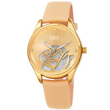 Women's Burgi BUR189YG Diamond Champagne Sparkle Rose Satin Leather Strap Watch